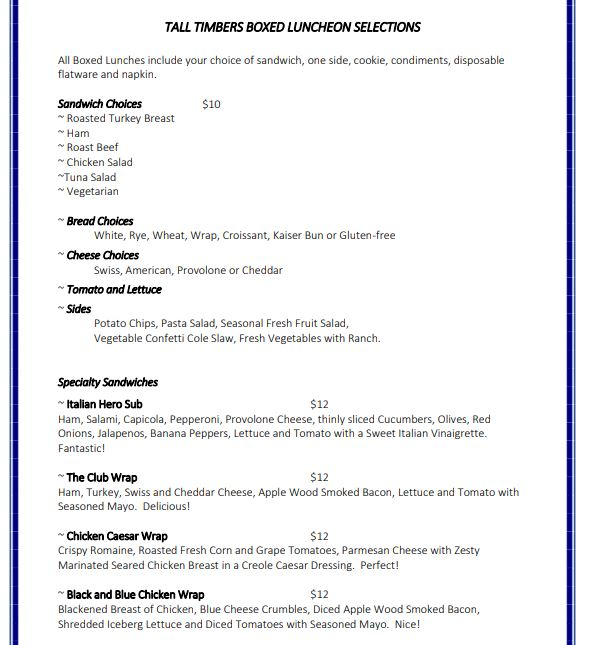 Boxed Lunch Menu 1