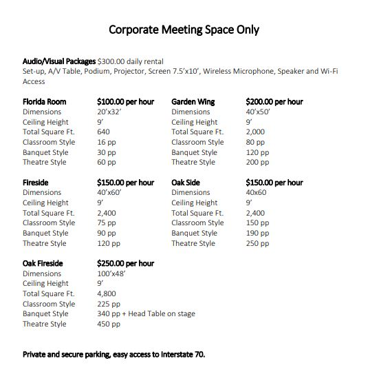 Corporate Meeting Space Only
