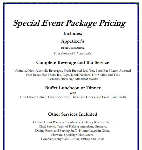 Special Events Pricing 1
